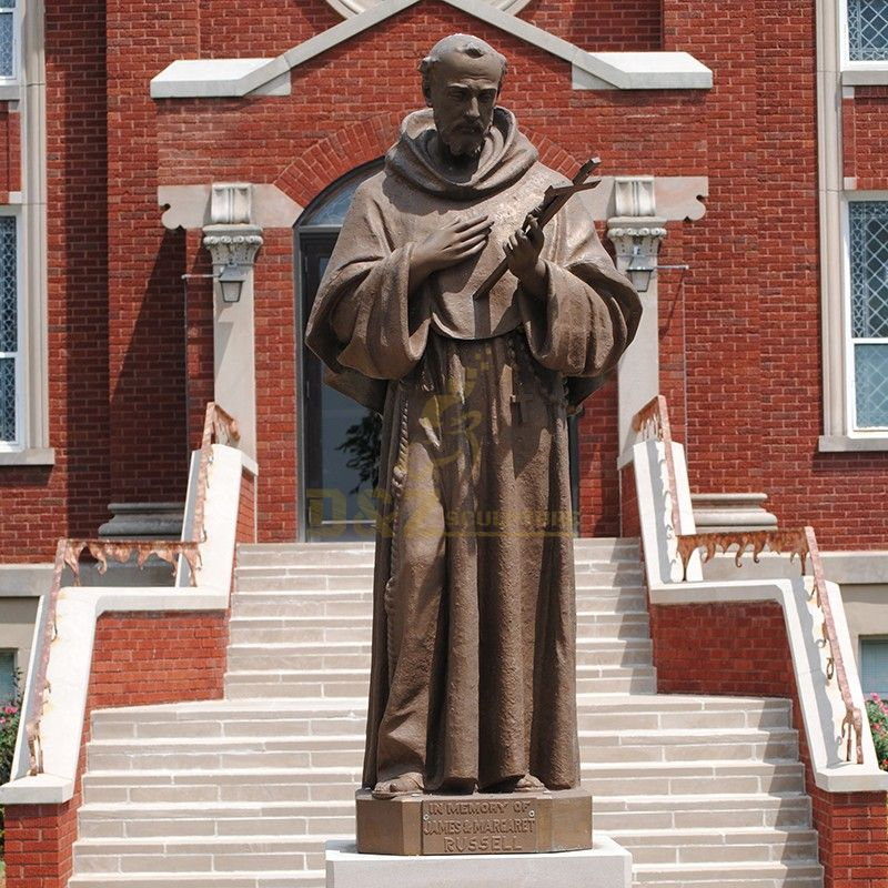 Customized outdoor statue of Saint Francis holding a cross statue