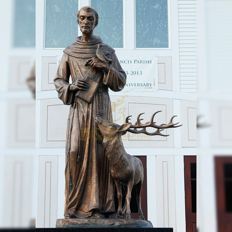 Catholic outdoor decoration saint Francis statue with animal bronze statue for sale