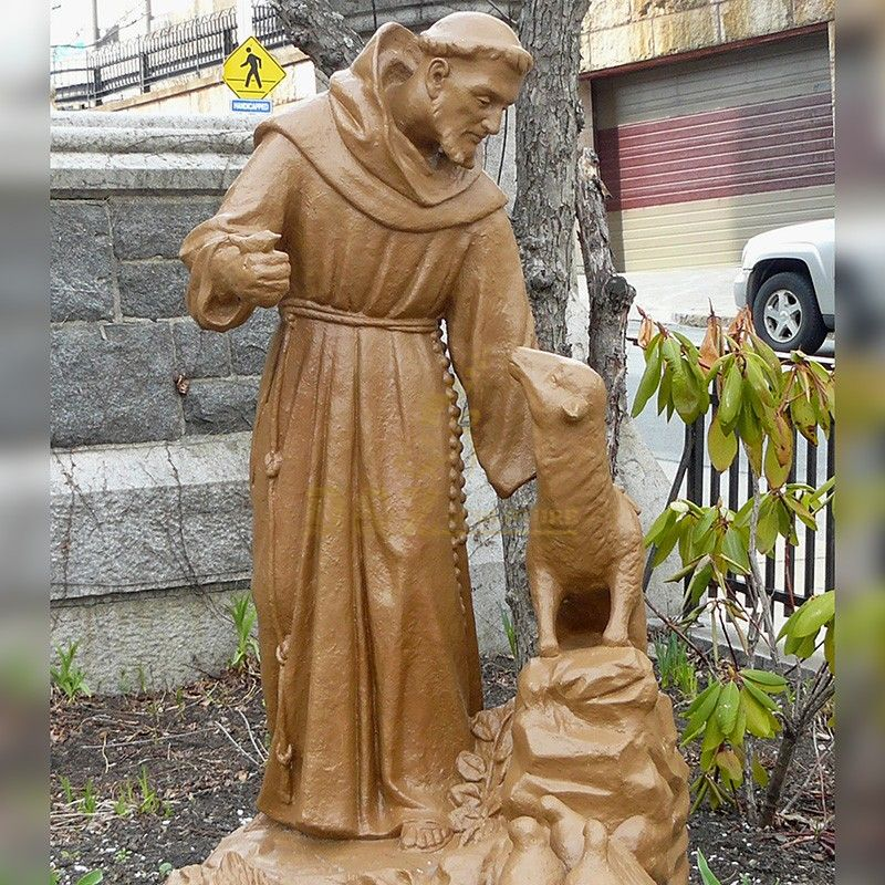 Customized high quality brass statues of Saint Francis with animals