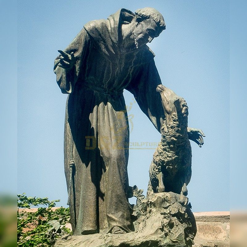 Life size religious sculpture bronze garden st. francis statue outdoor