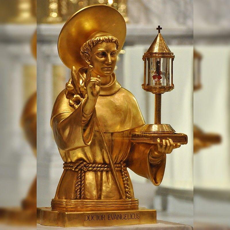 Famous catholic saint golden bust of Saint Francis for sale