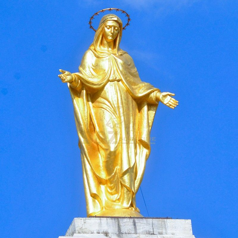 Outdoor golden life size bronze Virgin Mary statue for sale