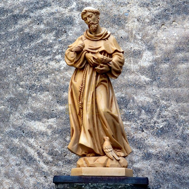Outdoor art decoration best quality brass Saint Francis statue with birds for sale