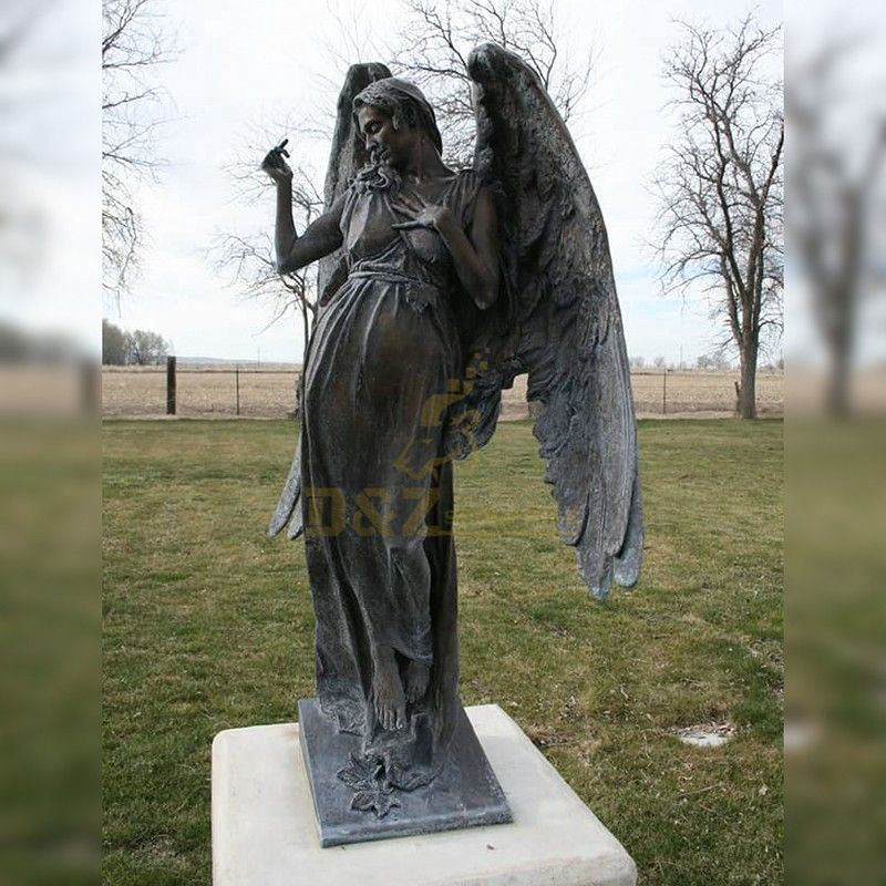 Metal cast life-size bronze cemetery angel statue for sale