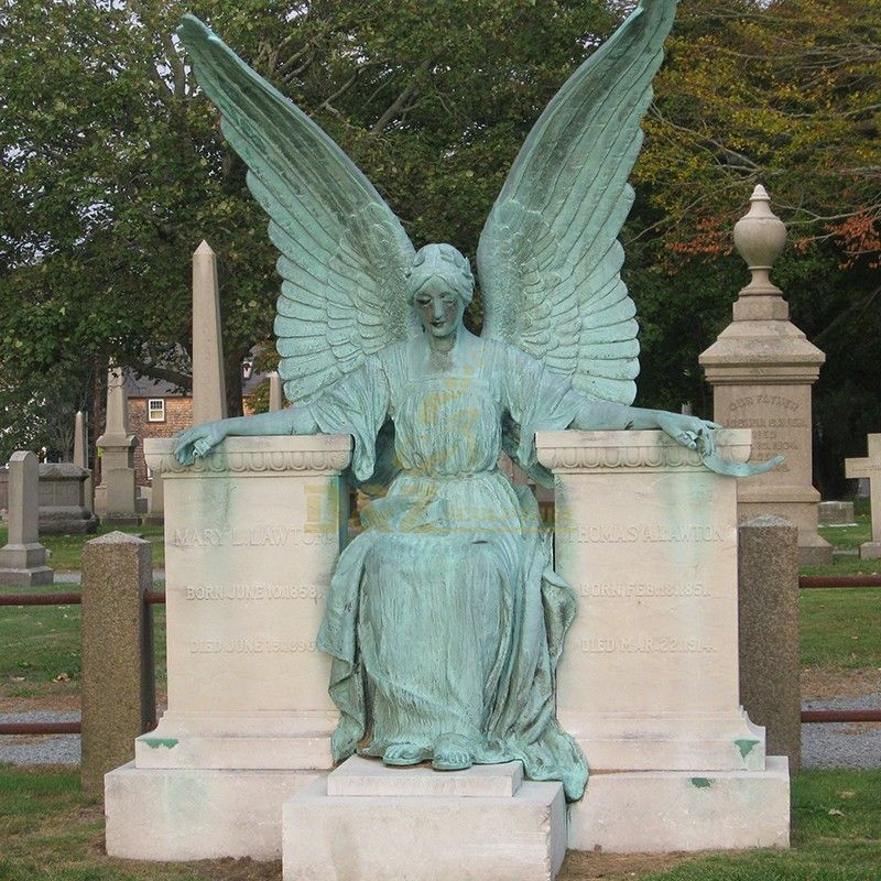Customized beautiful bronze high quality cemetery angel statue for sale