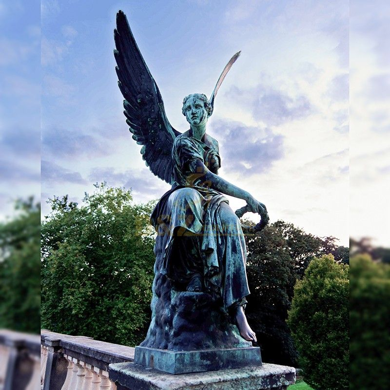 Exquisite high quality bronze large decorative angel garden statue for sale