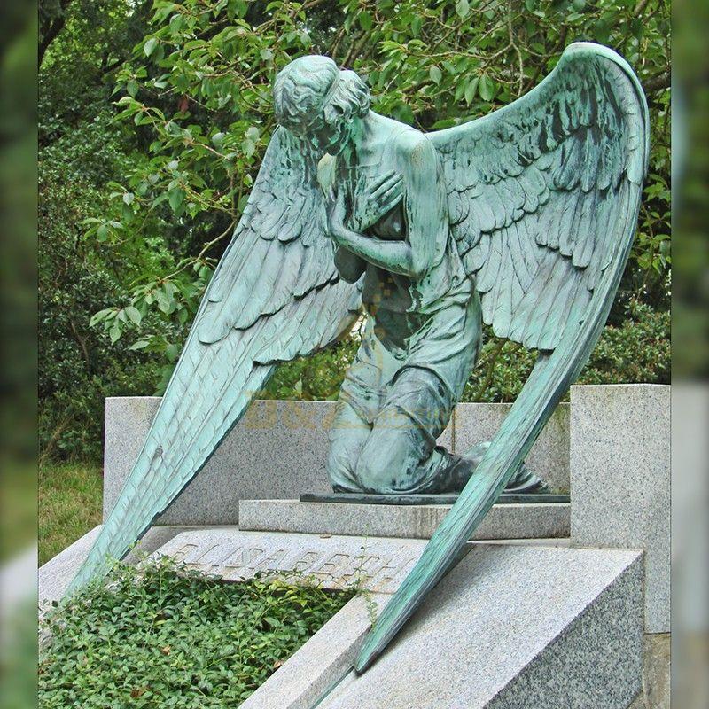 Exquisite bronze made praying gravestone angel statue for sale