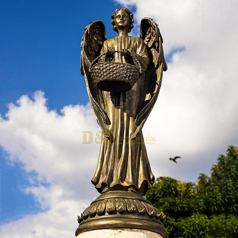 Outdoor new design of angel bronze statue carrying a basket for sale