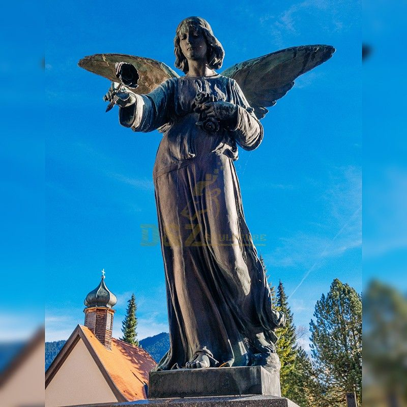 Hot selling large high quality outdoor winged angel statue for garden