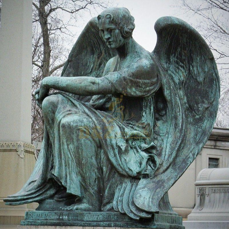 Hot selling exquisite garden sculpture bronze memorial angel statue