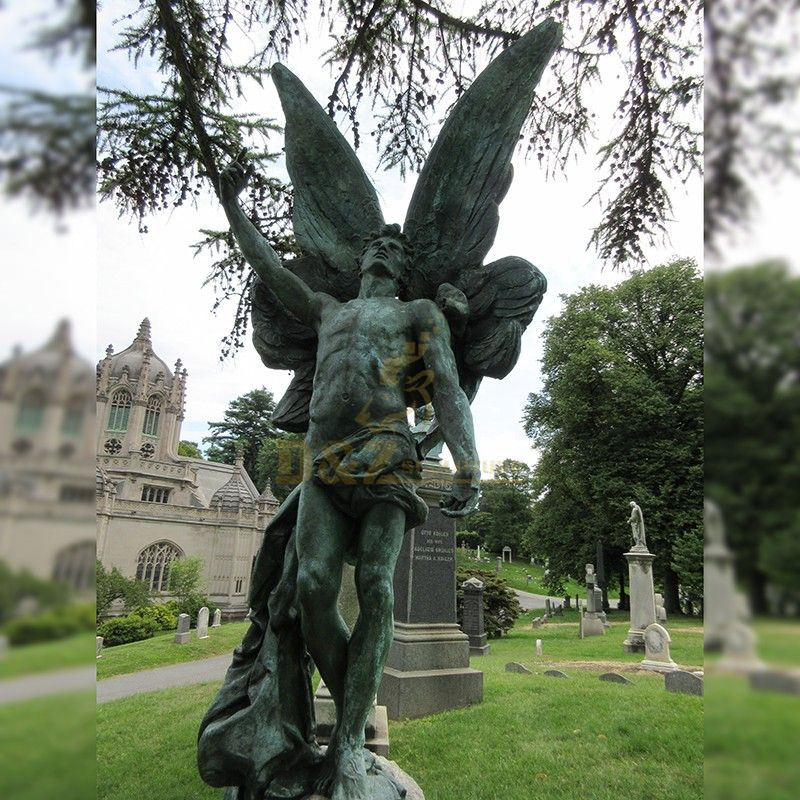 Famous life-size green bronze cemetery angel statue for sale