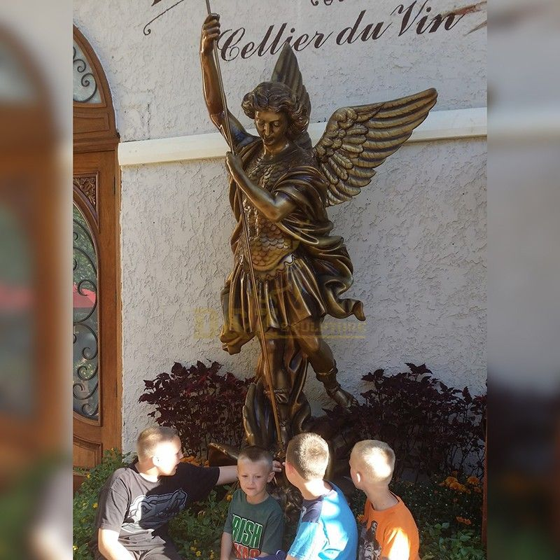 Life-size Archangel Michael Spear and Dragon Statue Ornaments for Sale
