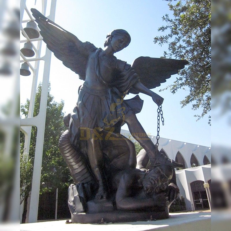The famous bronze statue of Saint Michael hitting evil with an iron chain for sale