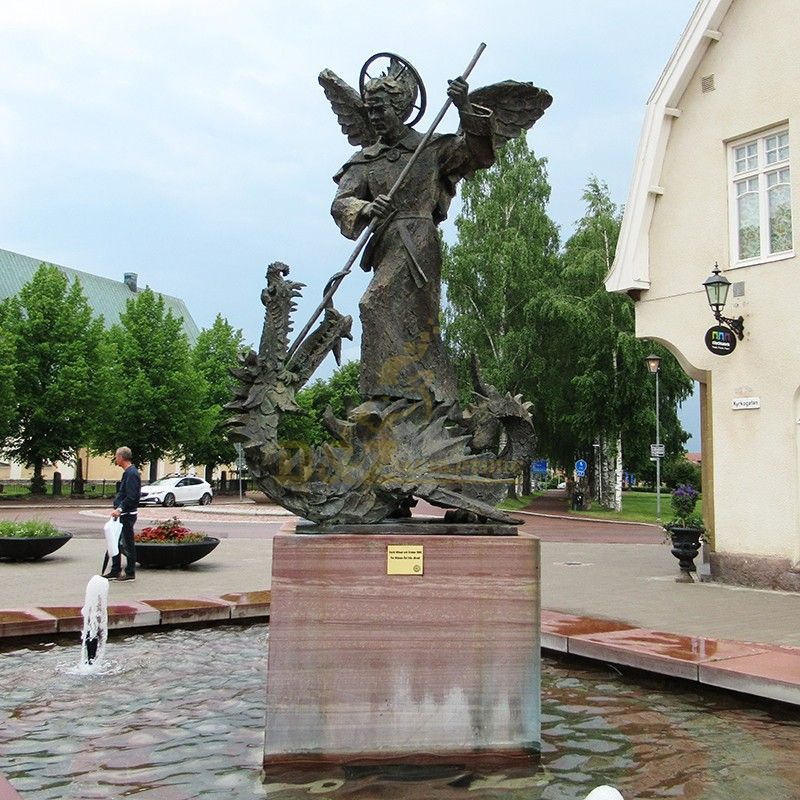 Garden statue fountain decoration Saint Michael stabbed dragon statue with a spear for sale