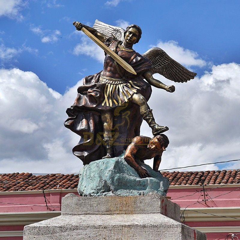 Outdoor life-size statue of Archangel Michael and Demon fighting for sale