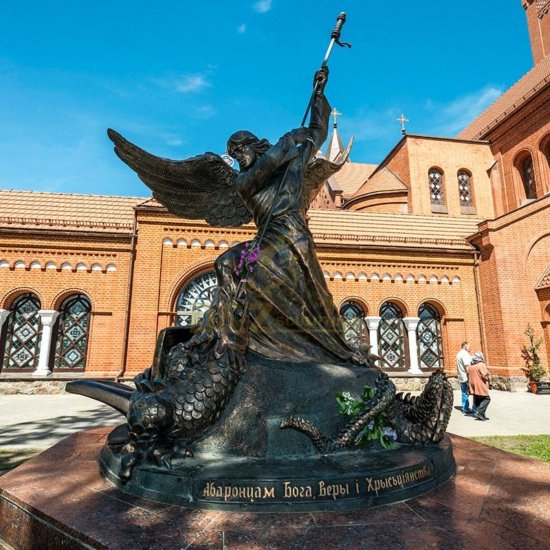 Large outdoor decorative artwork Saint Michael the Angel Slaying the Dragon sculpture for sale