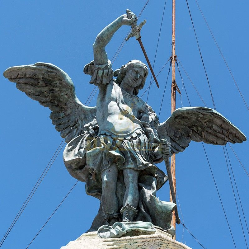 Outdoor garden sculpture high quality bronze Saint Michael angel statue for sale