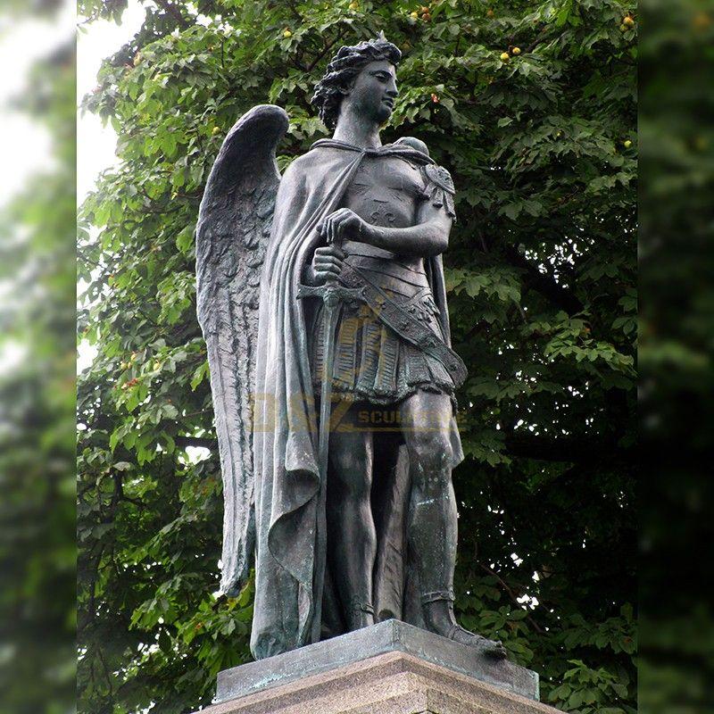 Customized bronze material exquisite saint michael the archangel outdoor statue