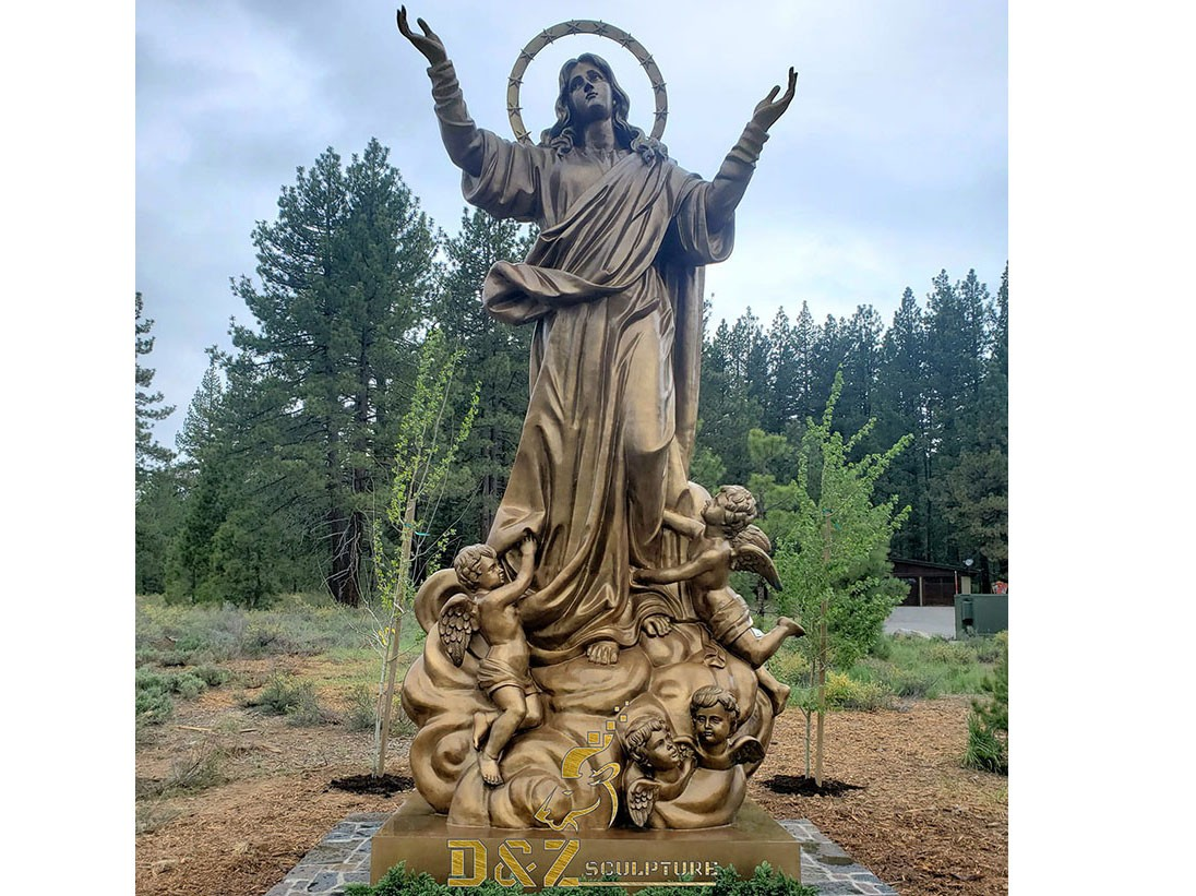 Customed large size bronze virgin Mary statue for Virgin Mary Catholic Church