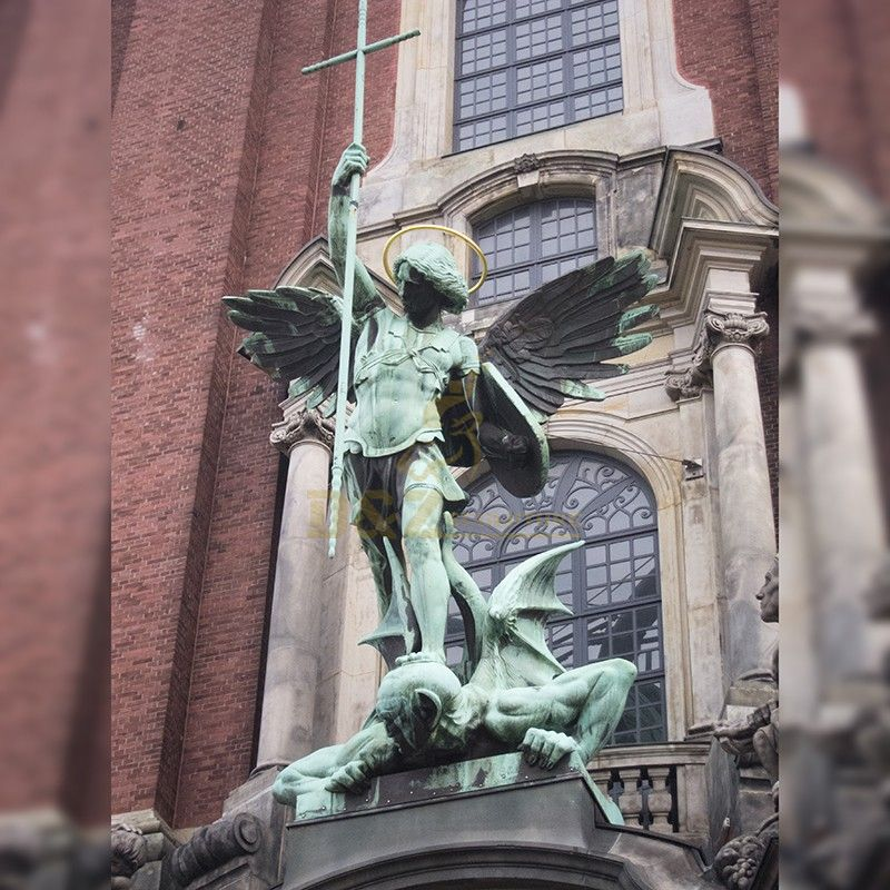 The famous sculpture of saint Michael the Archangel stabbed the demon with a spear