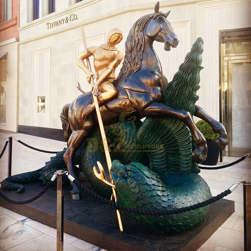 New design outdoor garden sculpture Saint George slaying the dragon statue for sale
