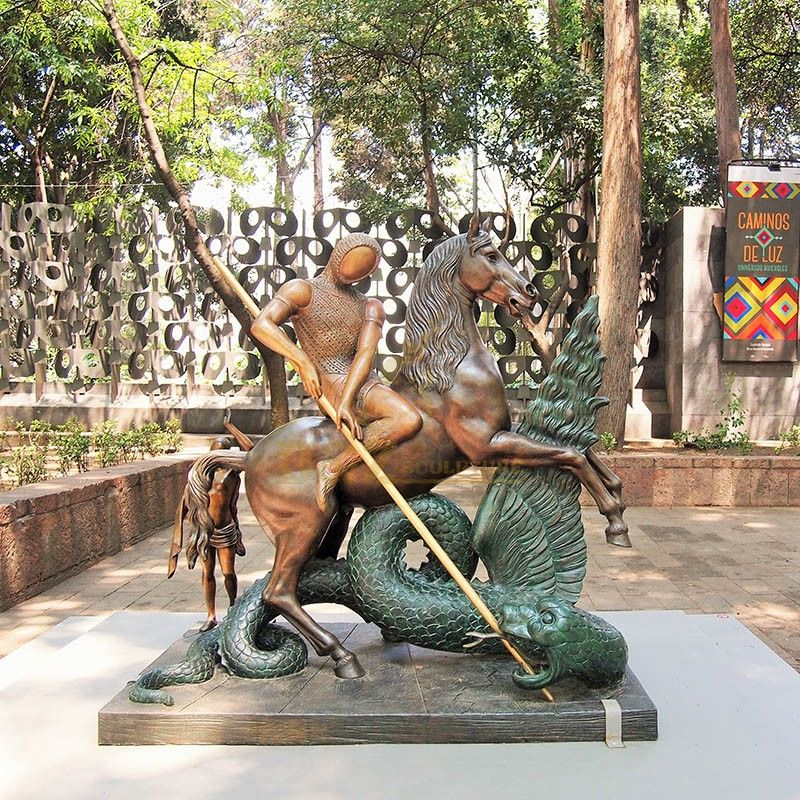 Outdoor park art sculpture abstract Saint George slaying the dragon statue for sale