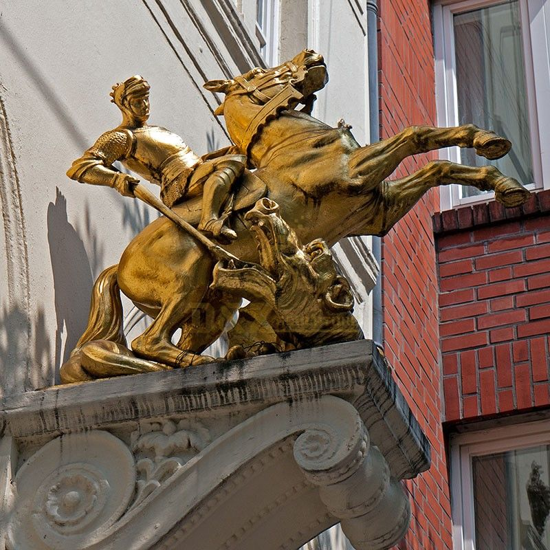New product outdoor bronze cast St. George and the Dragon statue