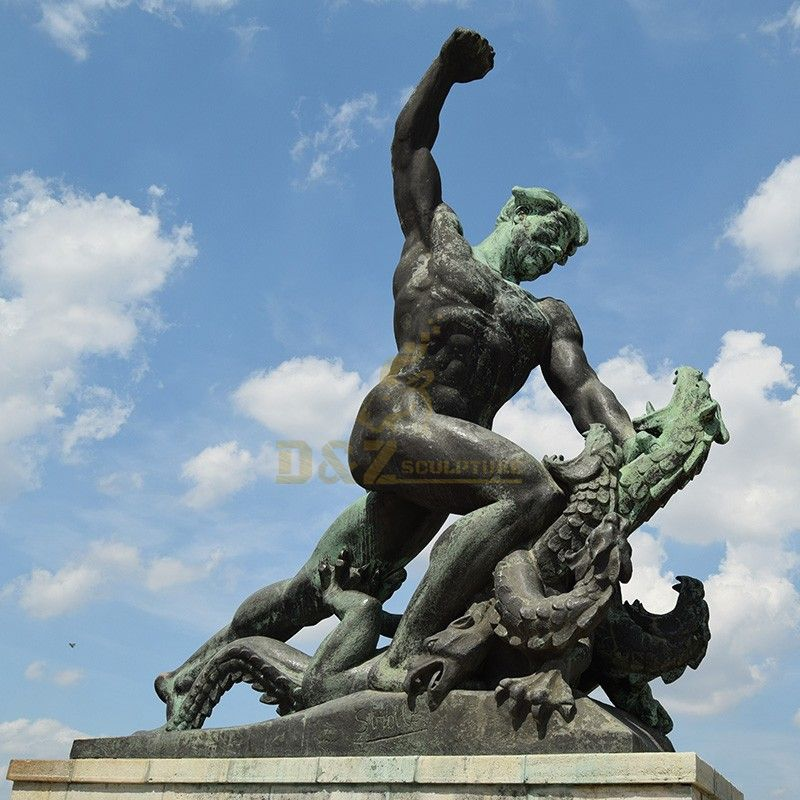 The best export art bronze large sculpture of Saint George and the dragon fighting