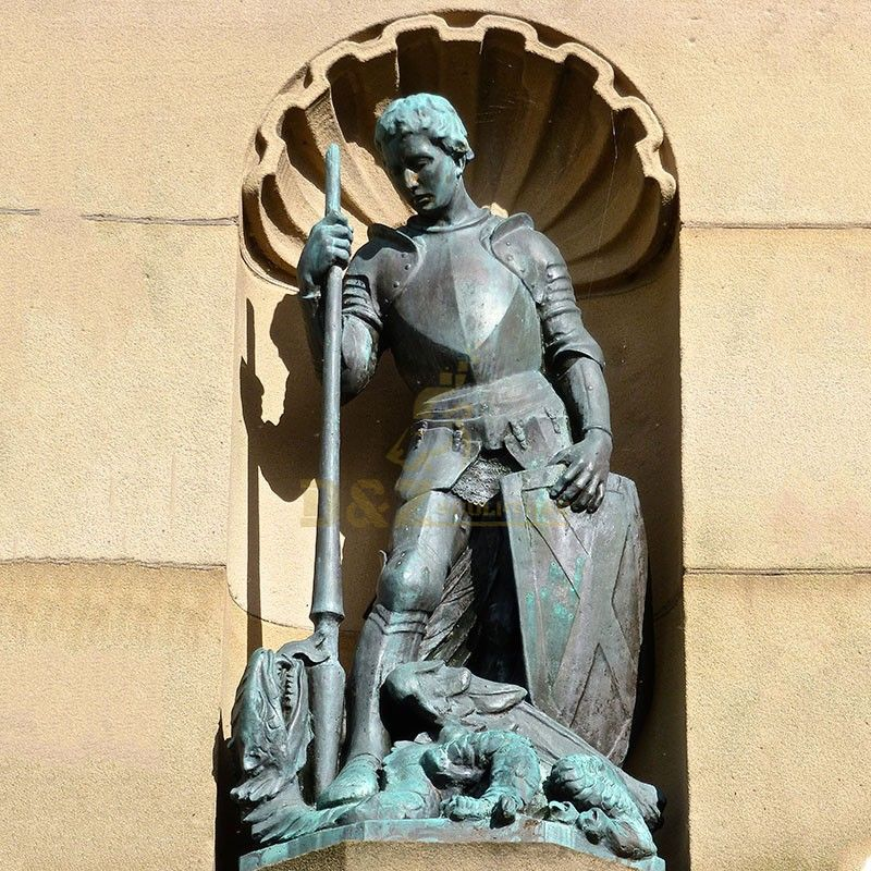 Outdoor church decoration Saint George slaying the dragon statue for sale