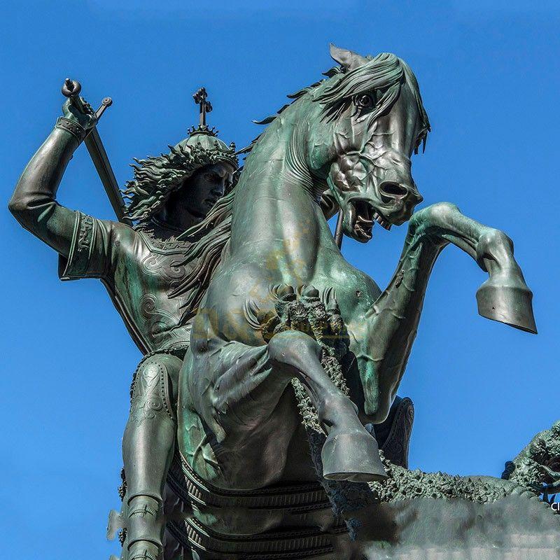 Life size outdoor modern garden decoration metal bronze statue saint george and dragon sculpture