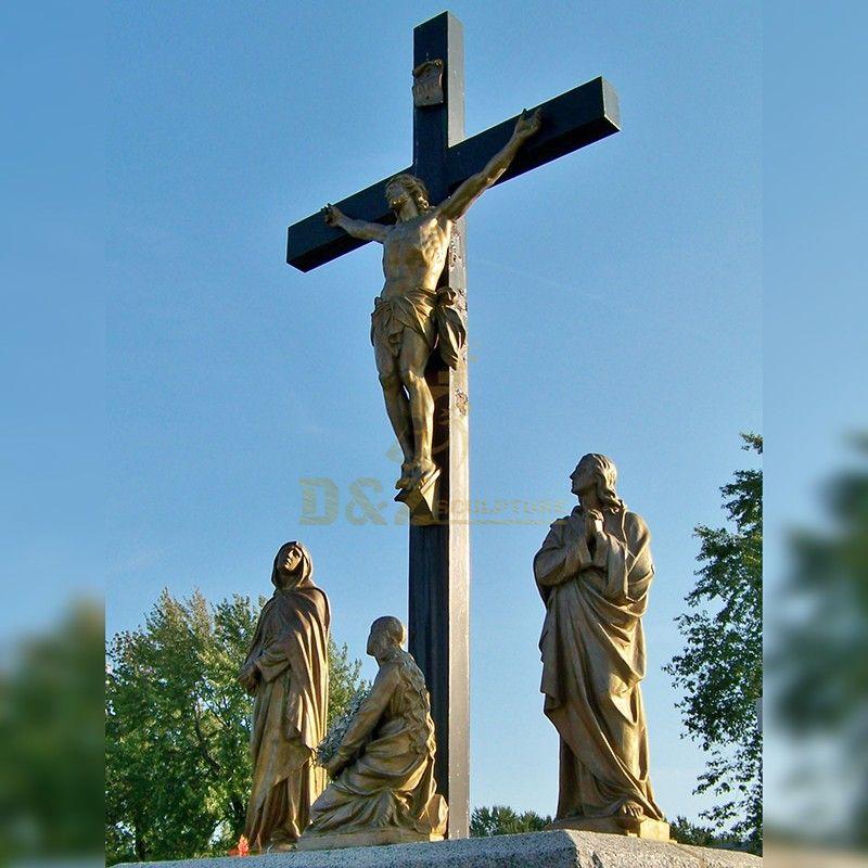Religious sculpture bronze Jesus on the cross statue for sale