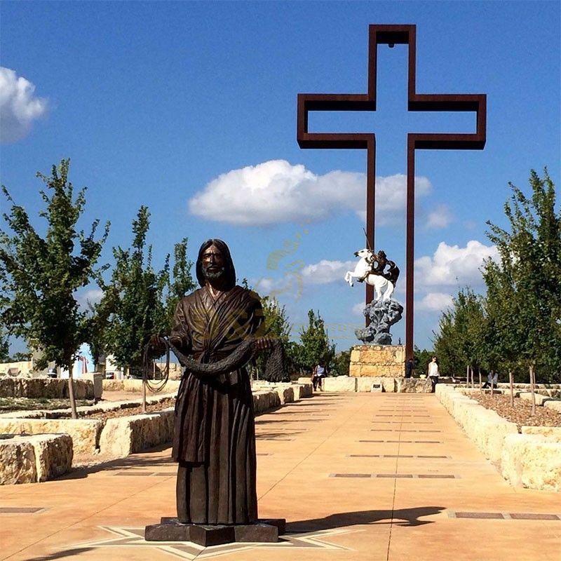 Famous metal casting bronze Jesus cross praying garden statue for sale