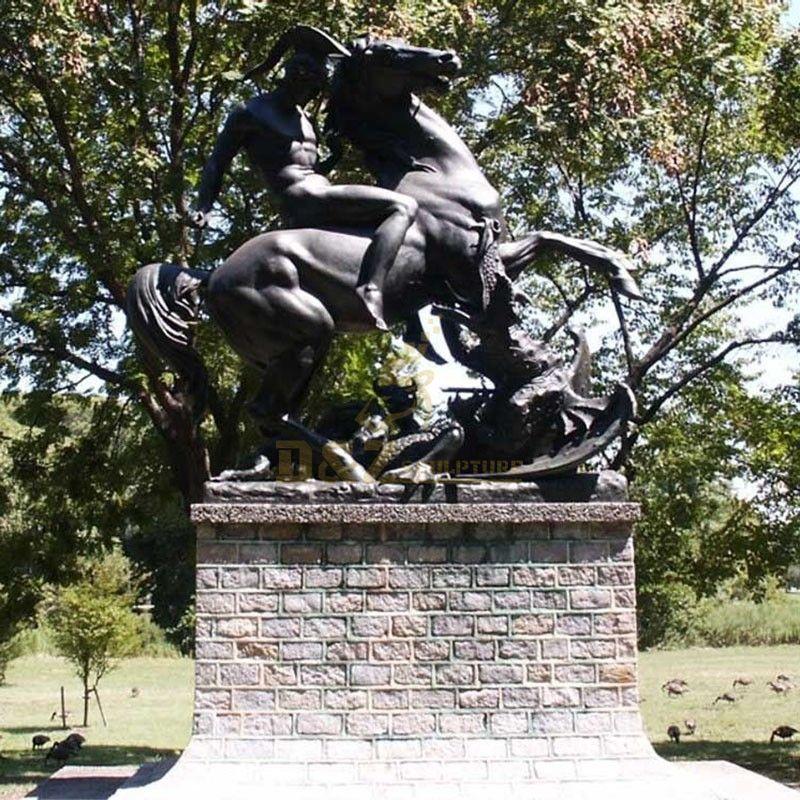 Large size church decoration bronze statues saint george kill the dragon