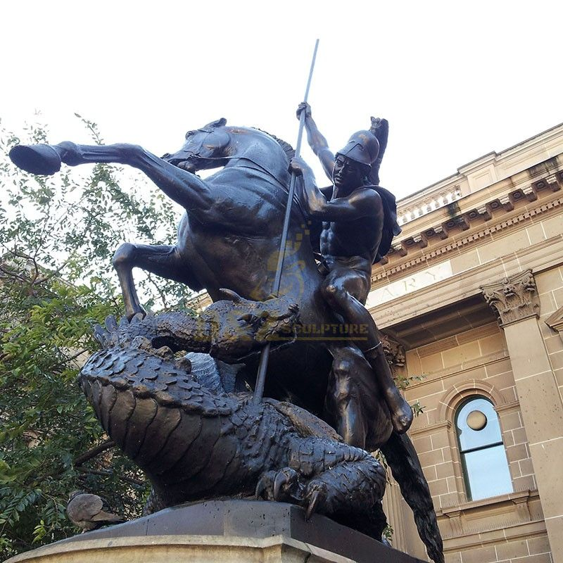 Outdoor saint George riding a horse to slay a dragon statue for sale