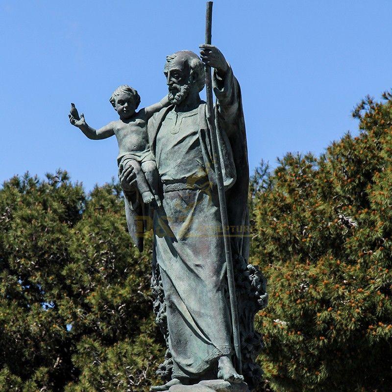 Outdoor Bronze Saint Joseph and Baby Jesus Statue Garden Decoration