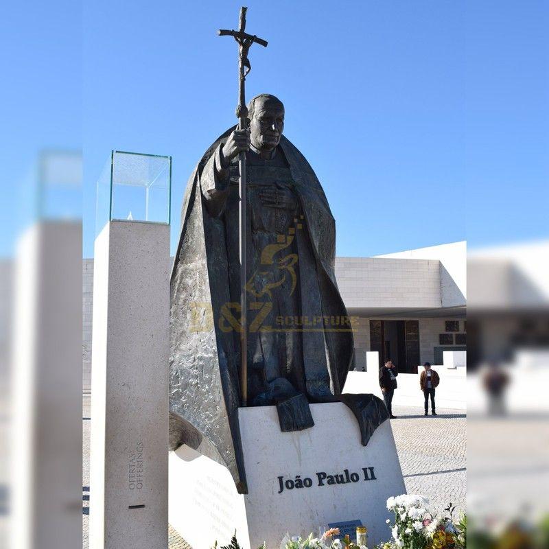 Outdoor religious decoration memorial sculpture Saint John Paul II statue