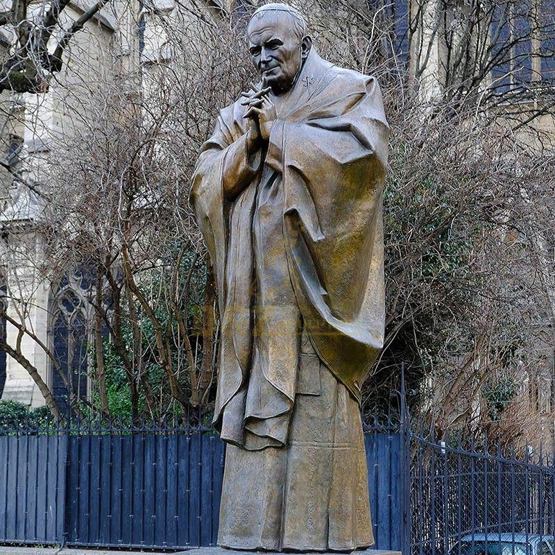 Life-size saint sculpture bronze saint John Paul II garden statue for sale