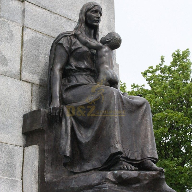 Life-size seated bronze statues of Saint Anne and Mary for sale