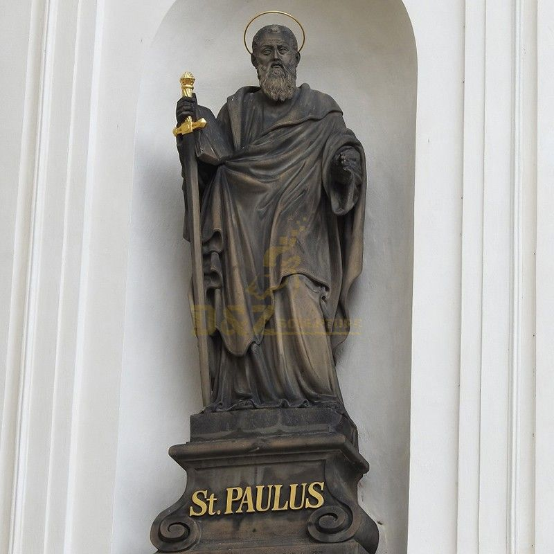 High quality religious decoration bronze st paul statue for sale