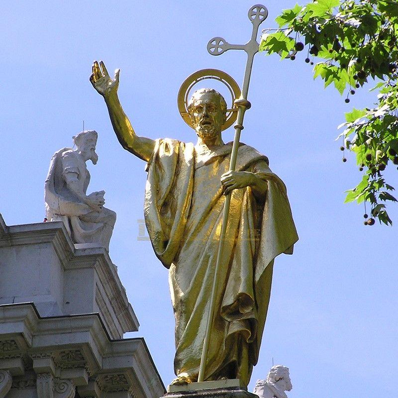 Famous western figure outdoor golden saint paul statue garden decoration for sale
