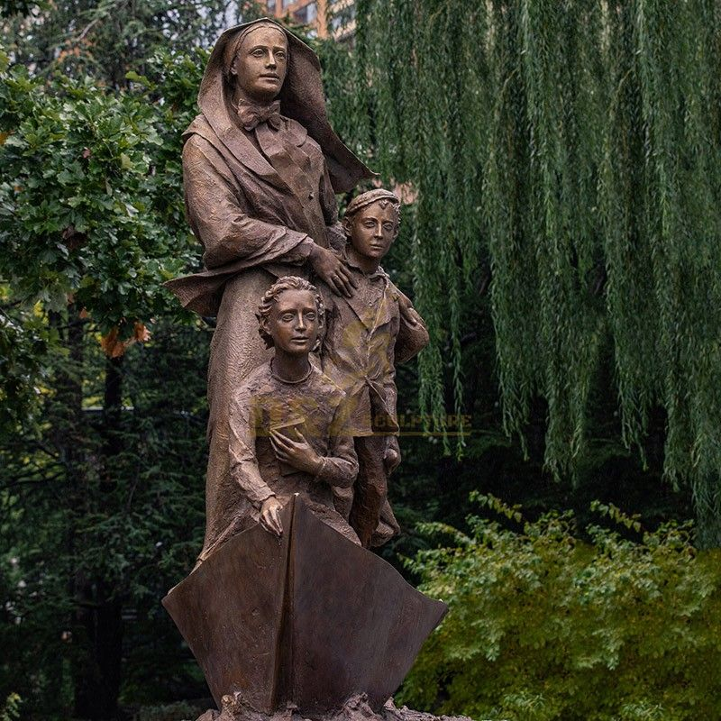 Outdoor garden religious Catholic decoration Mother Cabrini with children statue