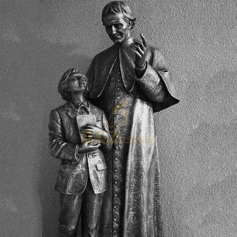 Life-size bronze cast st john bosco statue with children for sale