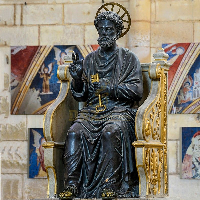 Life-size seated Christian religious statue St. Peter's Church statue