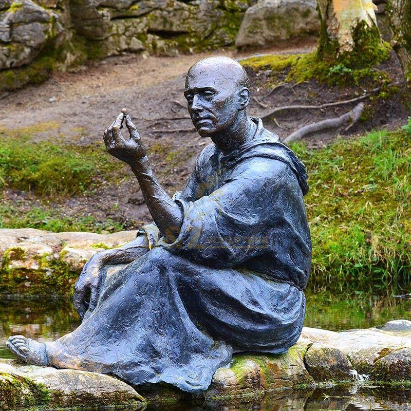 Garden decoration saint sculpture bronze st fiacre outdoor statue for sale