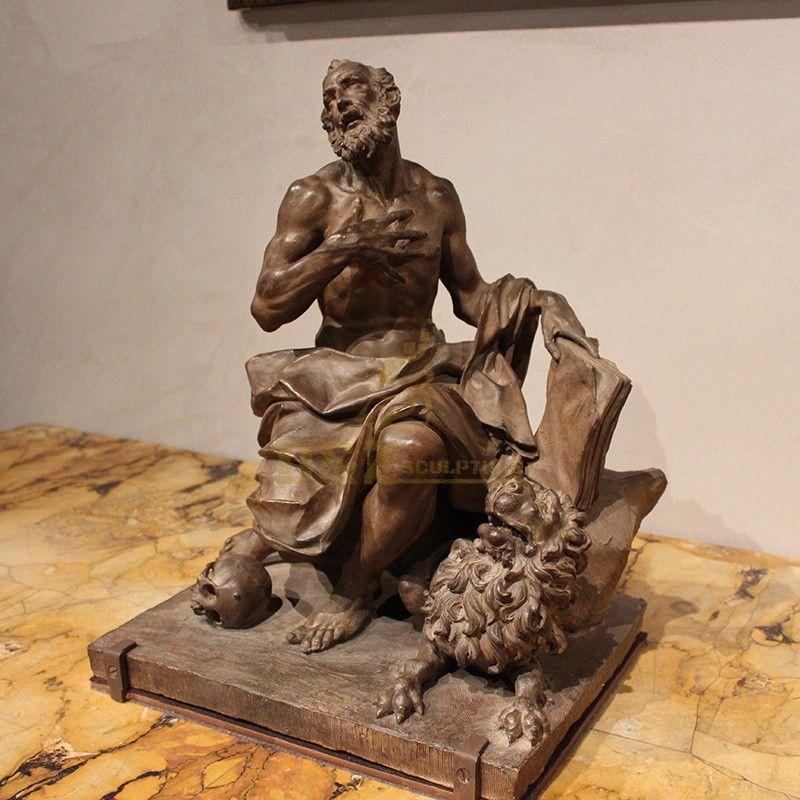 Classic saint statue bronze saint Jerome statue religious decoration for sale
