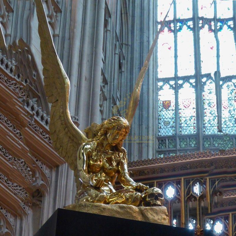 Hot sale golden church decoration bronze Fallen Angel statue for sale