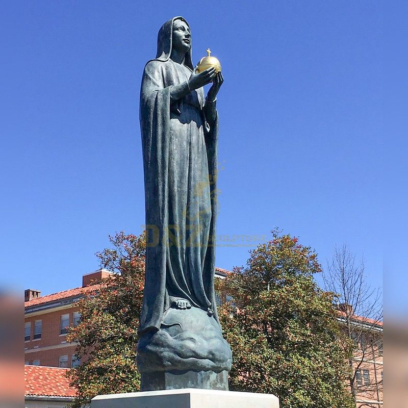 Exquisite large outdoor Virgin Mary blessing statue holding an earth cross
