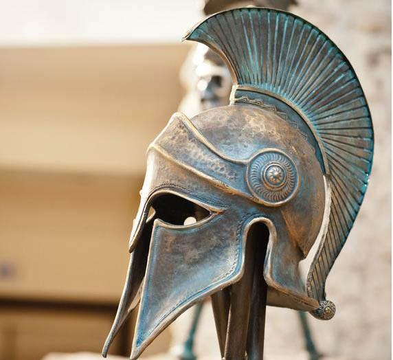 Bronze life-size spartan statue