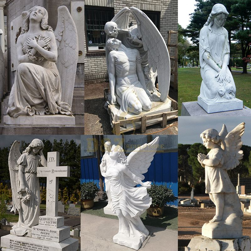Carved Angel Granite Tombstone For Cemetery