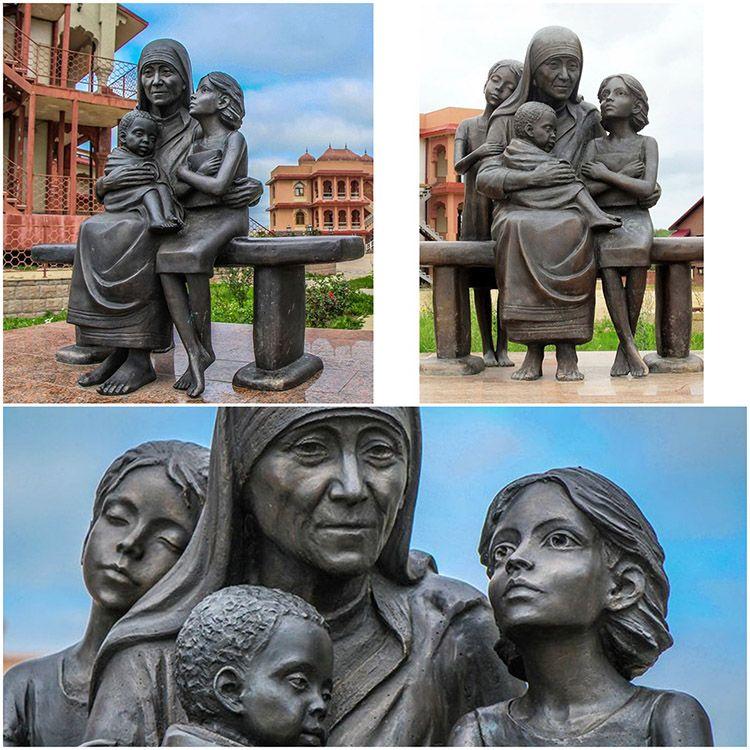 Famous bronze sculpture Teresa nun sculpture with children